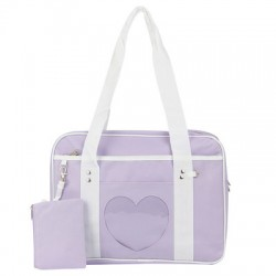 Japanese School Sling Bag - heart shape purple color