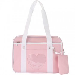Japanese School Sling Bag - heart shape pink color