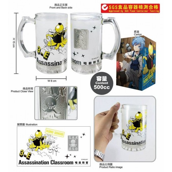 Carved Glass Water Cup-Assassination Classroom A (Koro Sensei)