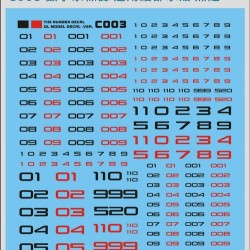 DL C003 Gundam Numberic Water Decal - Red Black